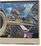 Louie Armstrong Mural In Eureka Wood Print
