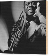 Louis Armstrong Holding A Trumpet Wood Print