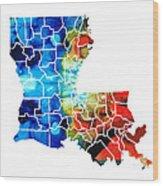 Louisiana Map - State Maps By Sharon Cummings Wood Print