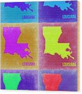 Louisiana Pop Art Map 2 Wood Print