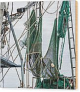 Louisiana Shrimp Boat Nets Wood Print