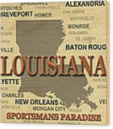 Louisiana State Pride Map Silhouette  Wood Print