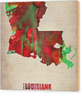 Louisiana Watercolor Map Wood Print by Naxart Studio