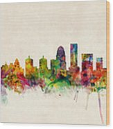 Louisville Kentucky City Skyline Wood Print