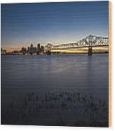 Louisville Skyline At Dusk Wood Print