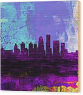 Louisville Watercolor Skyline Wood Print