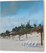 Lounge Chairs And Parasol On Pink Sands Wood Print