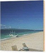 Lounge Chairs And Traditional Boat On Puka Beach In Boracay Phil Wood Print