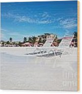 Lounge Chairs On Grace Bay Beach Wood Print by Jo Ann Snover