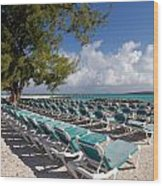 Lounge Chairs On The Beach Wood Print by Amy Cicconi