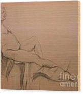 Lounging Nude Wood Print