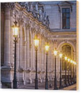 Louvre Lampposts Wood Print
