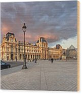 Louvre Museum At Sunset Wood Print