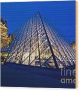 Louvre Pyramid At Dusk Wood Print