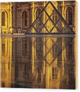 Louvre Sunset Wood Print