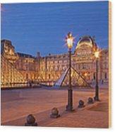 Louvre Twilight Wood Print