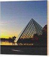 Louvre's Last Light Wood Print