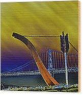 Love At Cupid's Span San Francisco Bay Bridge Wood Print