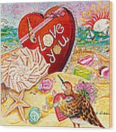 Love At The Beach Wood Print