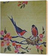 Love Birds Nesting Wood Print by Kelley Smith