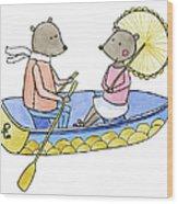 Love Boat Watercolor Illustration Wood Print