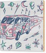Love Bus Vector Poster. Hippie Car Wood Print