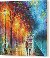 Love By The Lake - Palette Knife Oil Painting On Canvas By Leonid Afremov Wood Print
