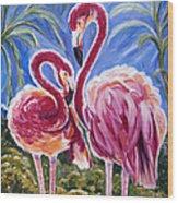 Love Flamingos  Wood Print