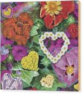 Love Flowers Garden Wood Print