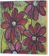 Love For Five Daisies Wood Print