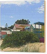 Love Heart Beach Box Wood Print by Rachael Curry