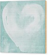 Love In Aqua Wood Print