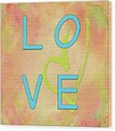 Love In Bright Blue Wood Print