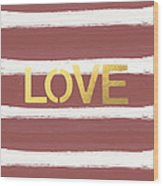 Love In Gold And Marsala Wood Print