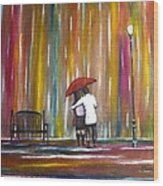 Love In The Rain Wood Print