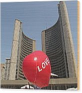 love in Toronto City Hall Wood Print