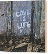 Love Is Life Wood Print