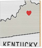 Love Kentucky State Wood Print