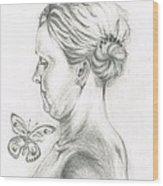 Loves- Her Butterflies Wood Print