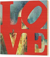 Love On Fire Wood Print