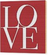 Love On Red Wood Print
