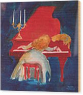 Love On The Red Piano Wood Print by Eve Riser Roberts