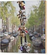 Love Padlocks In Amsterdam Wood Print