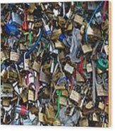 Love Padlocks On Pont Des Art Wood Print
