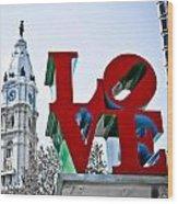 Love Park And City Hall Wood Print
