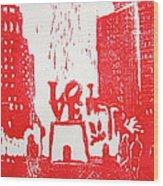 Love Park In Red Wood Print