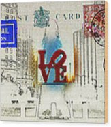 Love Park Post Card Wood Print