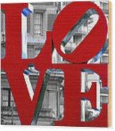 Love Philadelphia Red Wood Print