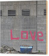 Love - Pink Painting On Grey Wall Wood Print