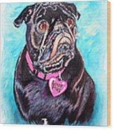 Love Pug Wood Print